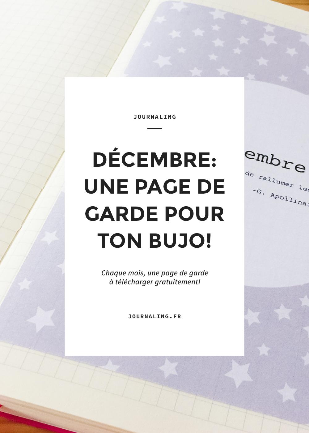 Bullet Journal, page à imprimer: le mois de décembre