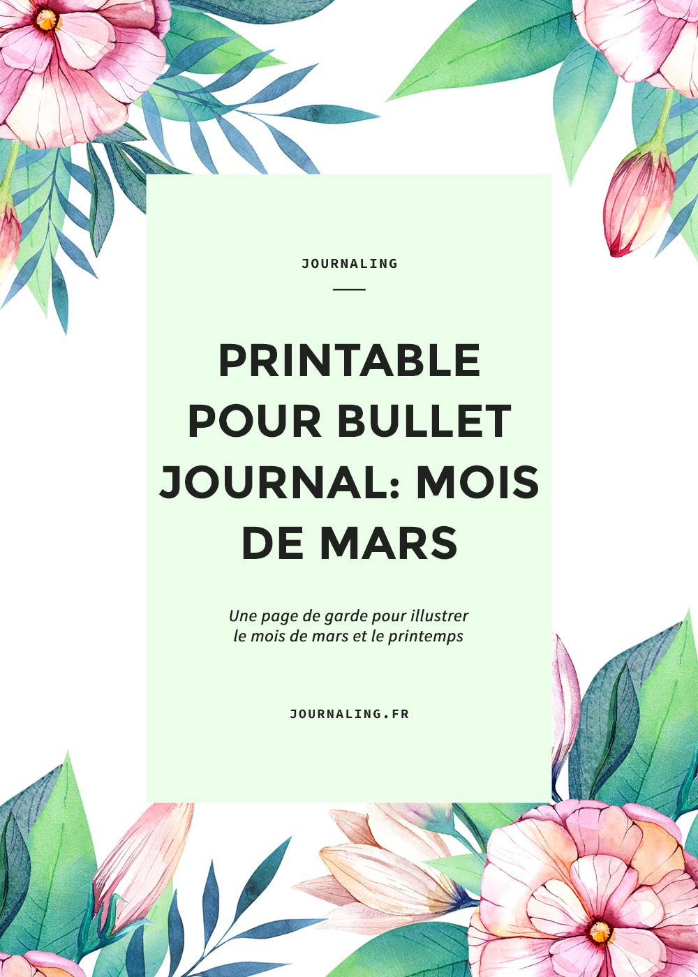 Bullet Journal à imprimer: page de garde pour Mars 2017