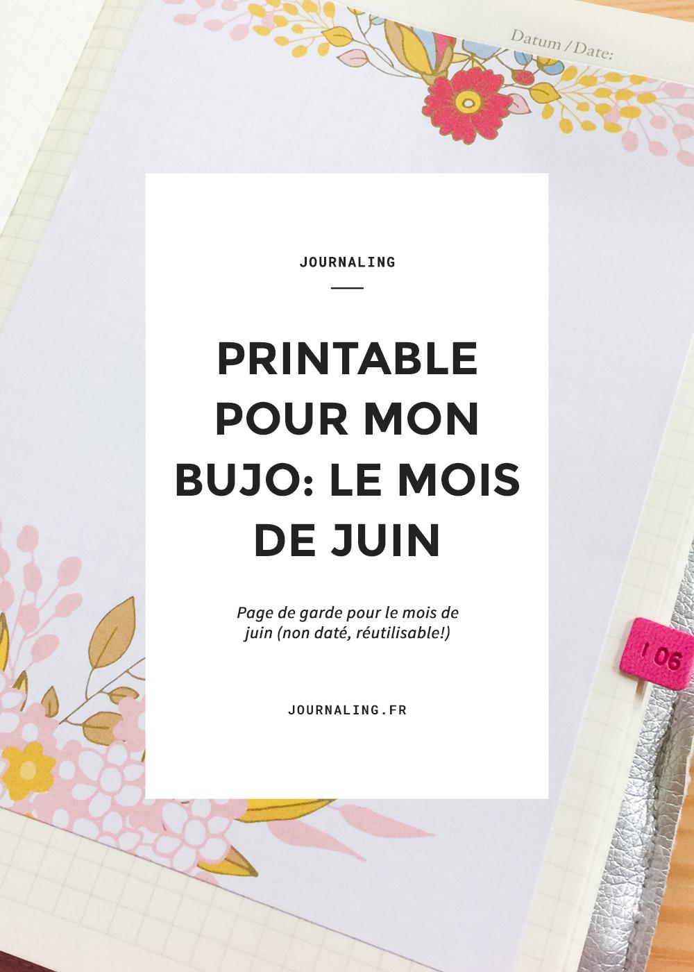 Printable pour Bullet Journal: mois de juin