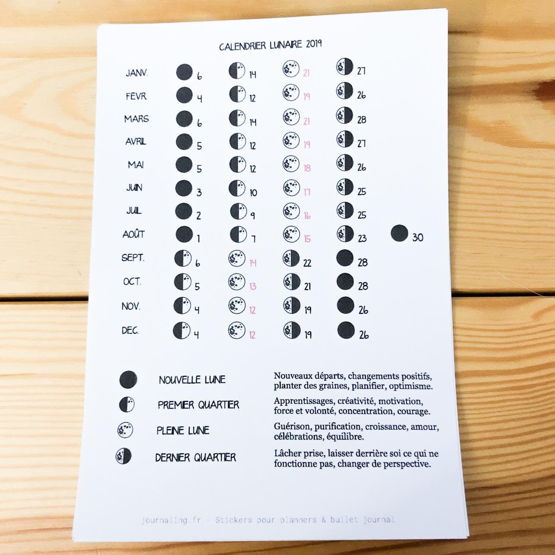 Calendrier Solunaire.Sticker Pleine Page Calendrier Lunaire 2019