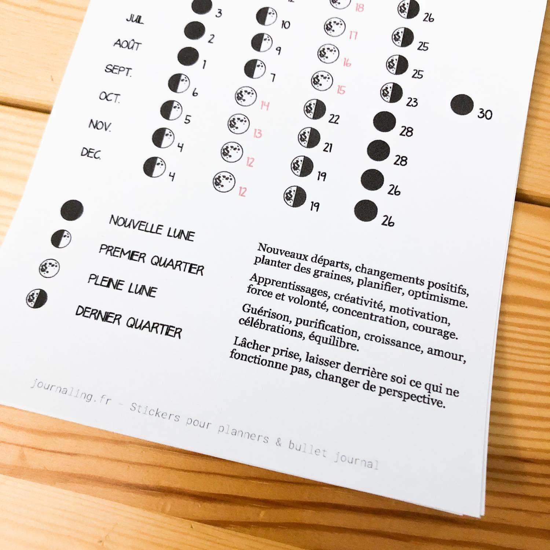 Calendrier Bullet Journal 2020.Sticker Pleine Page Calendrier Lunaire 2019