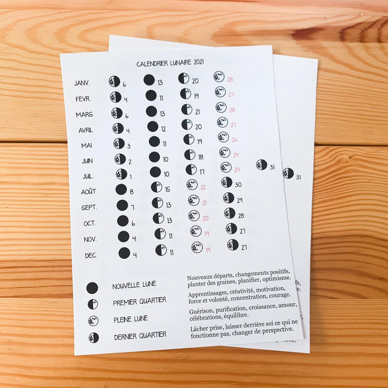 Sticker pleine page   Calendrier Lunaire 2021