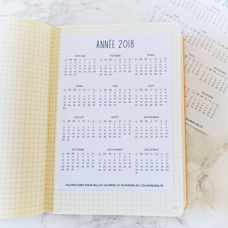 sticker pleine page pour bullet journal calendrier 2018
