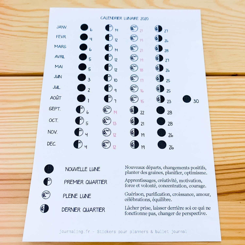 Calendrier Lune 2020.Sticker Pleine Page Calendrier Lunaire 2020