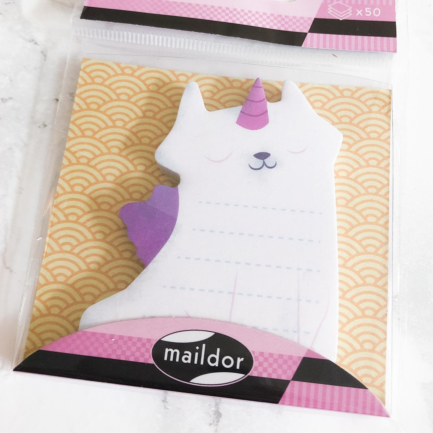 Notes repositionnables type postit, Chat Licorne (50 feuilles)