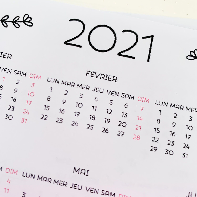 sticker calendrier bullet journal 2021