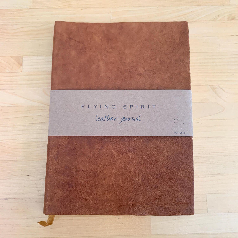 carnet cuir marron bullet journal
