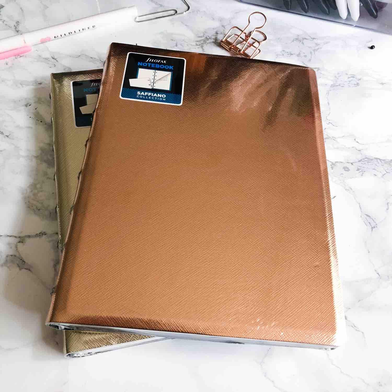 filofax notebooks saffiano cuivre et or