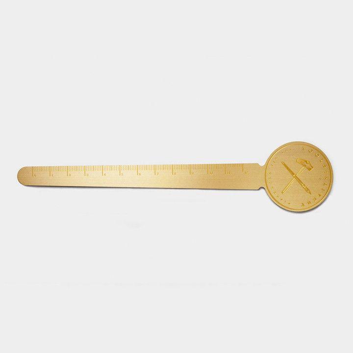 Marque-page règle 12cm, en métal doré