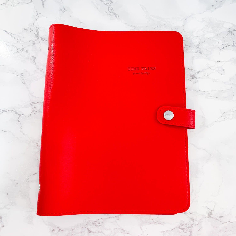 Planner A5, couverture souple en simili-cuir, qualité premium, ROUGE