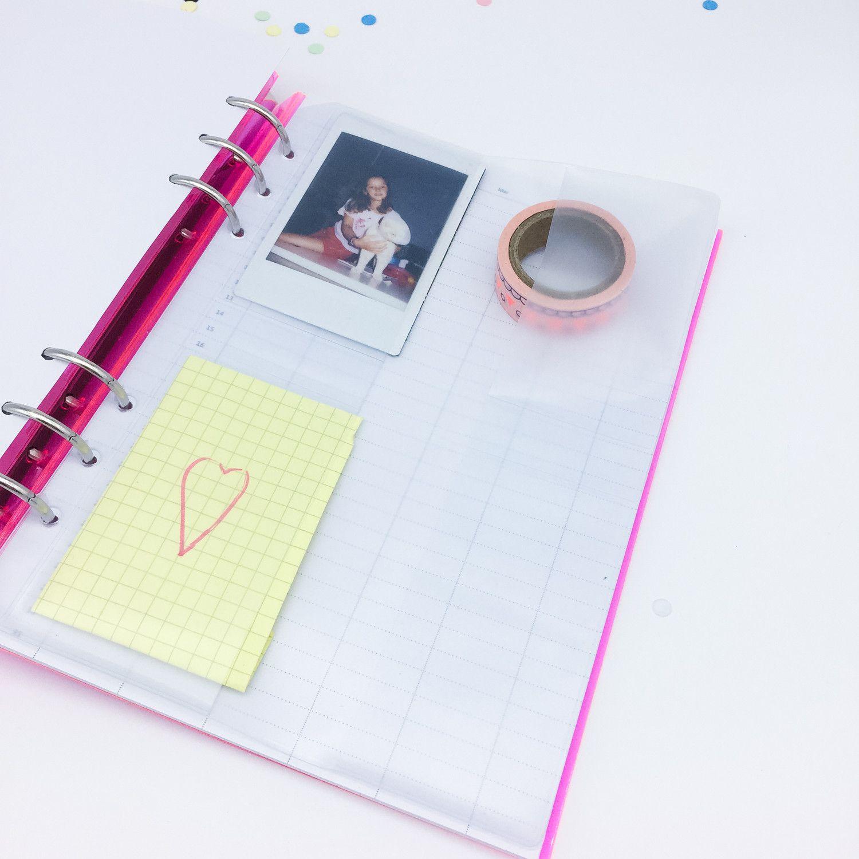 Pochette plastique porte cartes pour planner 6 trous
