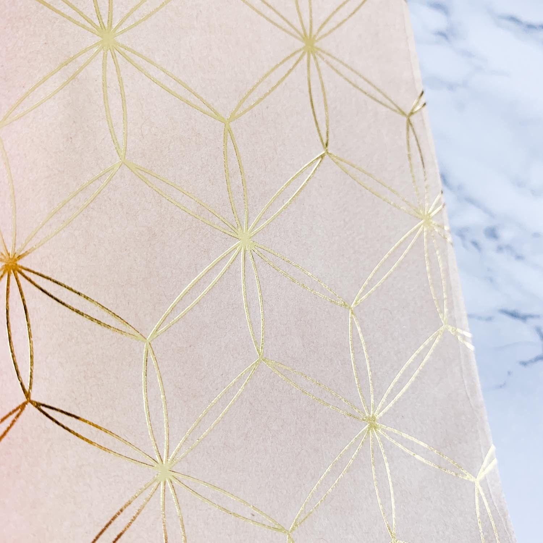 Pochette Kraft et or, motif géométrique