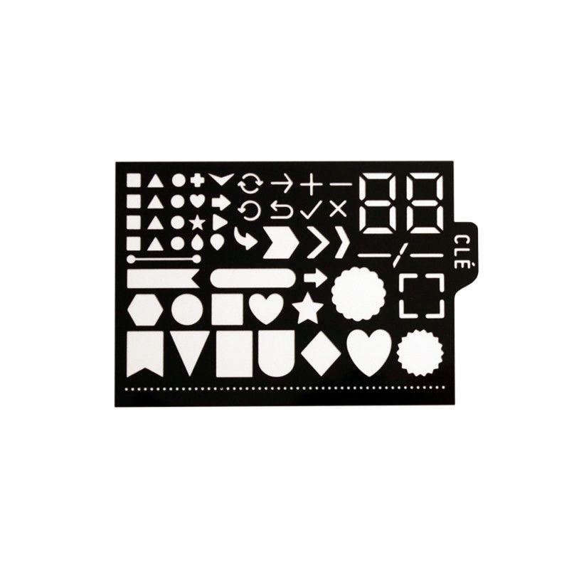 Pochoir pour BUJO® - Symboles: ronds, triangles, flèches, chiffres ...