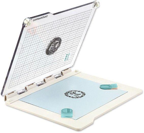 Positionneur de tampons transparents / clear stamps. Modèle à charnière.