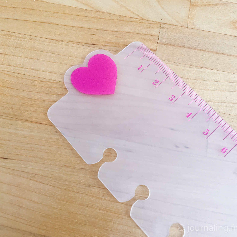 Règle coeur rose pour planner, 15cm