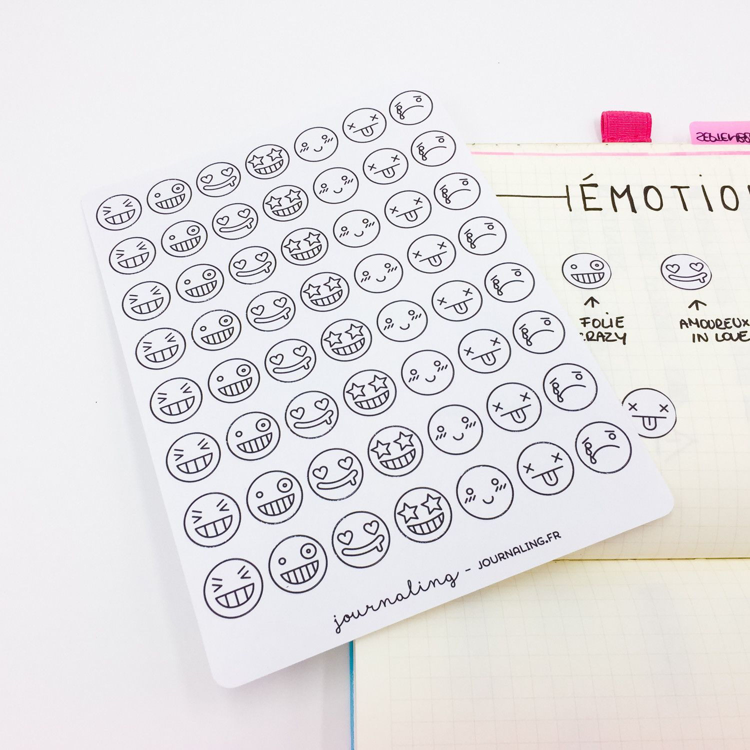 Stickers Minimalistes Smileys A Colorier