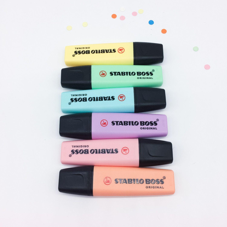 lot 6 surligneurs stabilo pastel