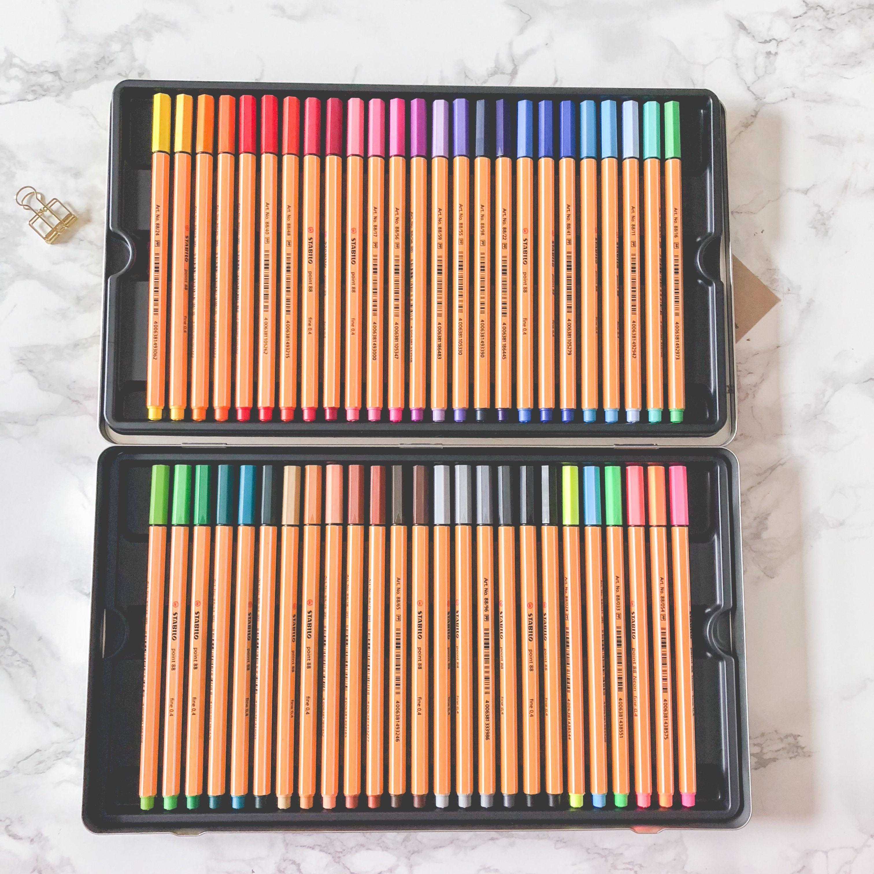 Coffret Métal de 50 stylos feutres STABILO point 88