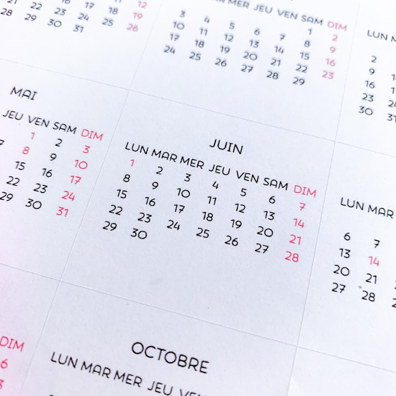 Stickers calendriers 2020 / mensuels / sans serif