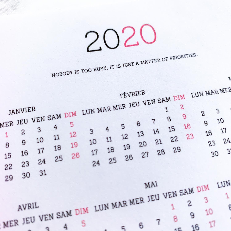 Calendrier Bullet Journal 2020.Sticker Calendrier 2020 Annuel Pleine Page Slab