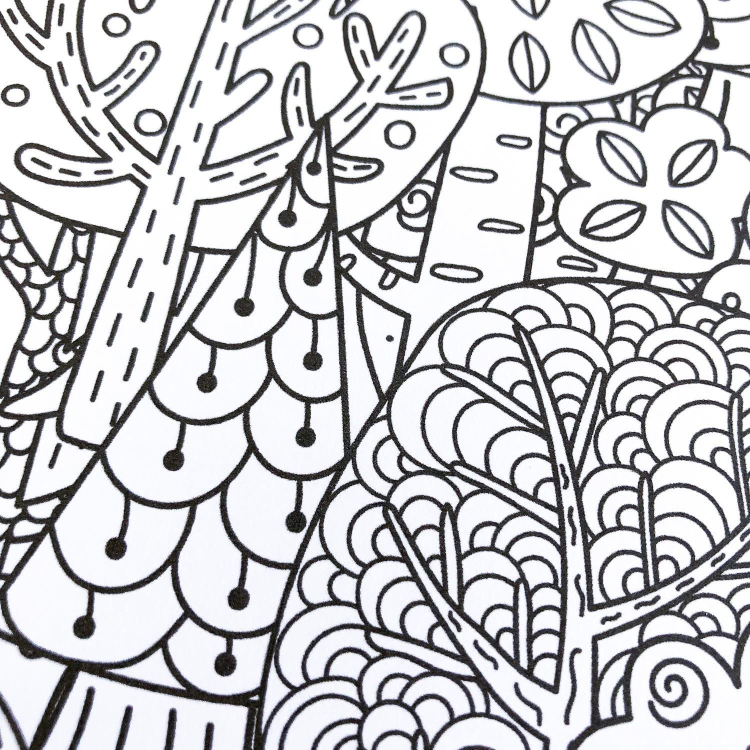 Sticker pleine page coloriage relaxant forêt