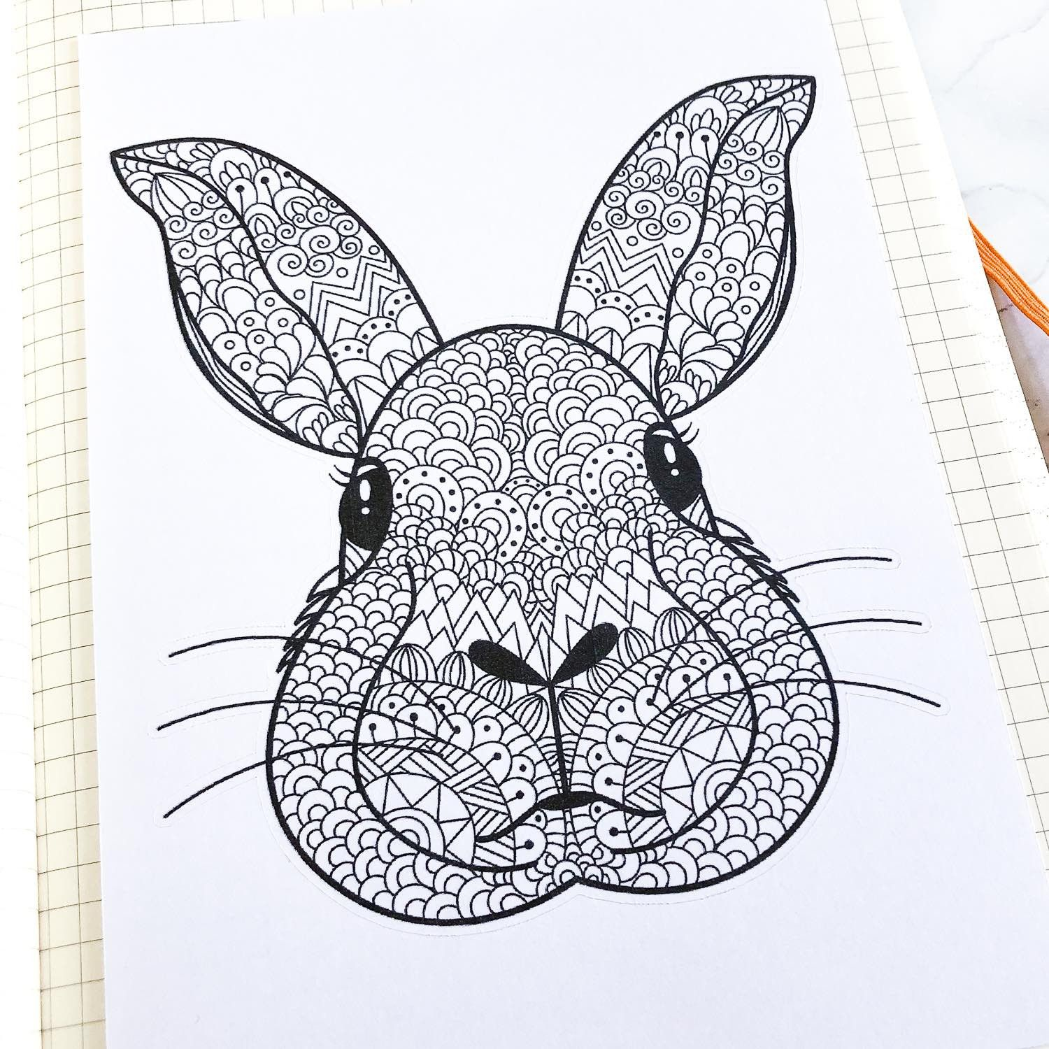 Sticker Géant - Coloriage relaxant Lapin