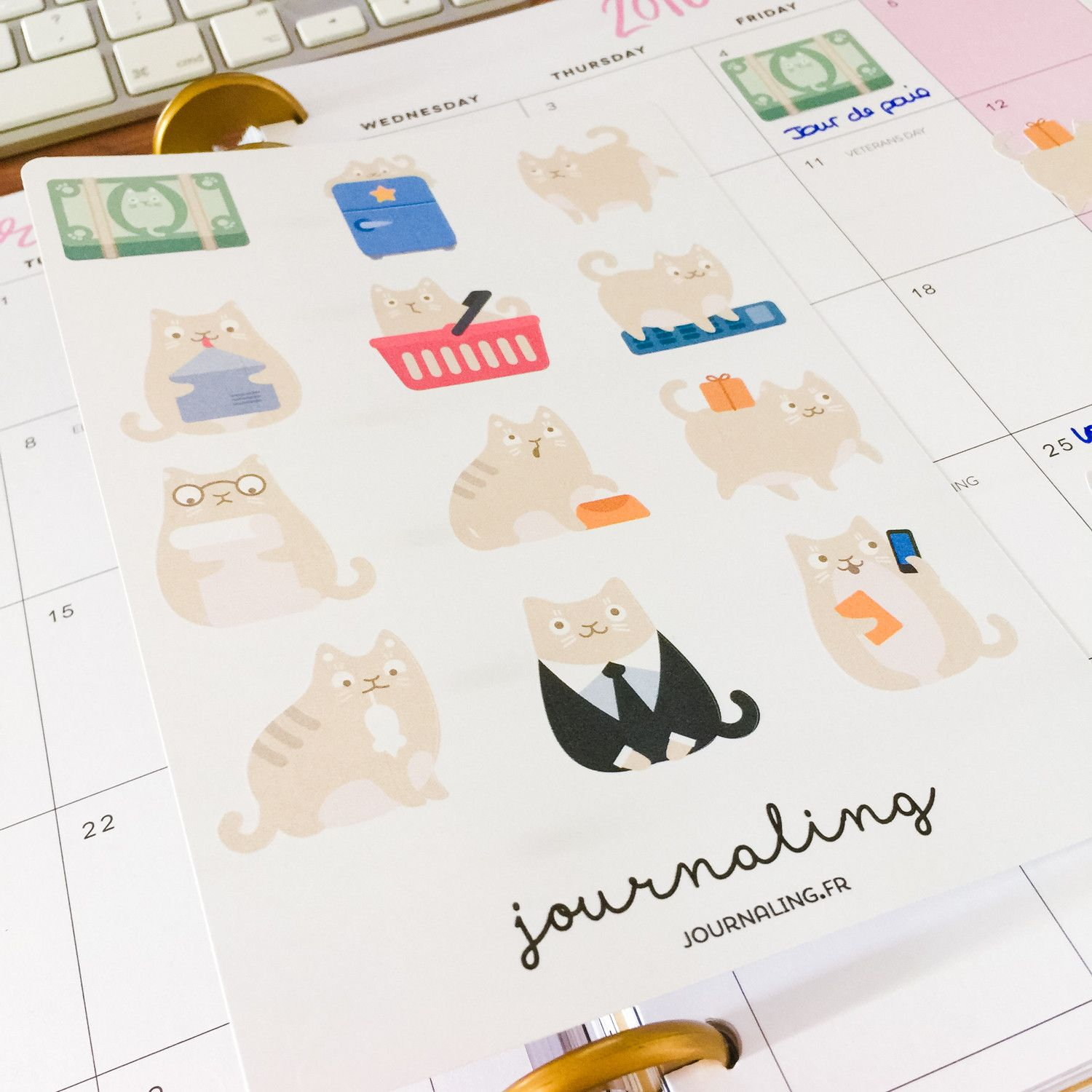 Stickers pour planner: chat beige pour cat lovers!