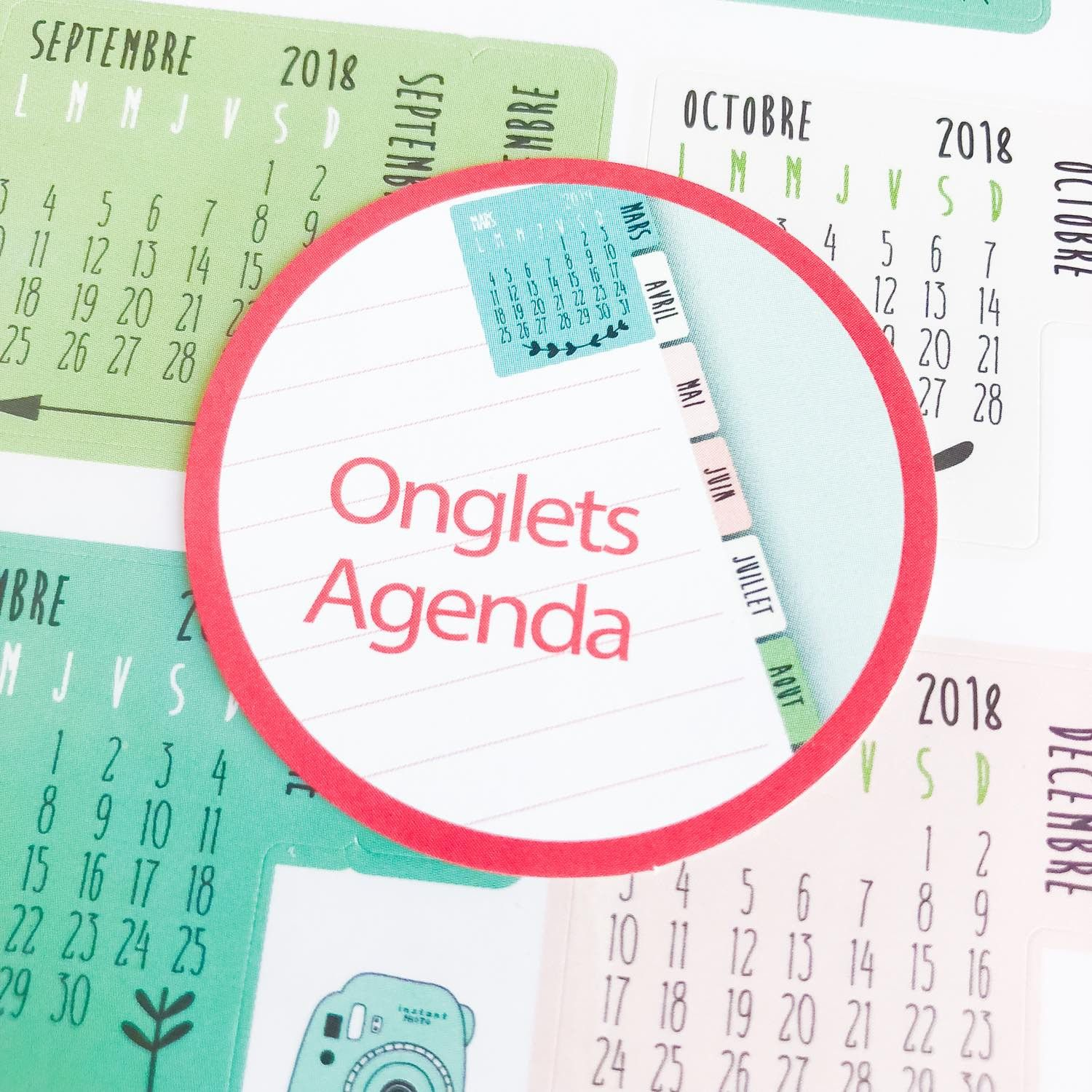 Stickers Onglets / calendriers rose et vert tendres