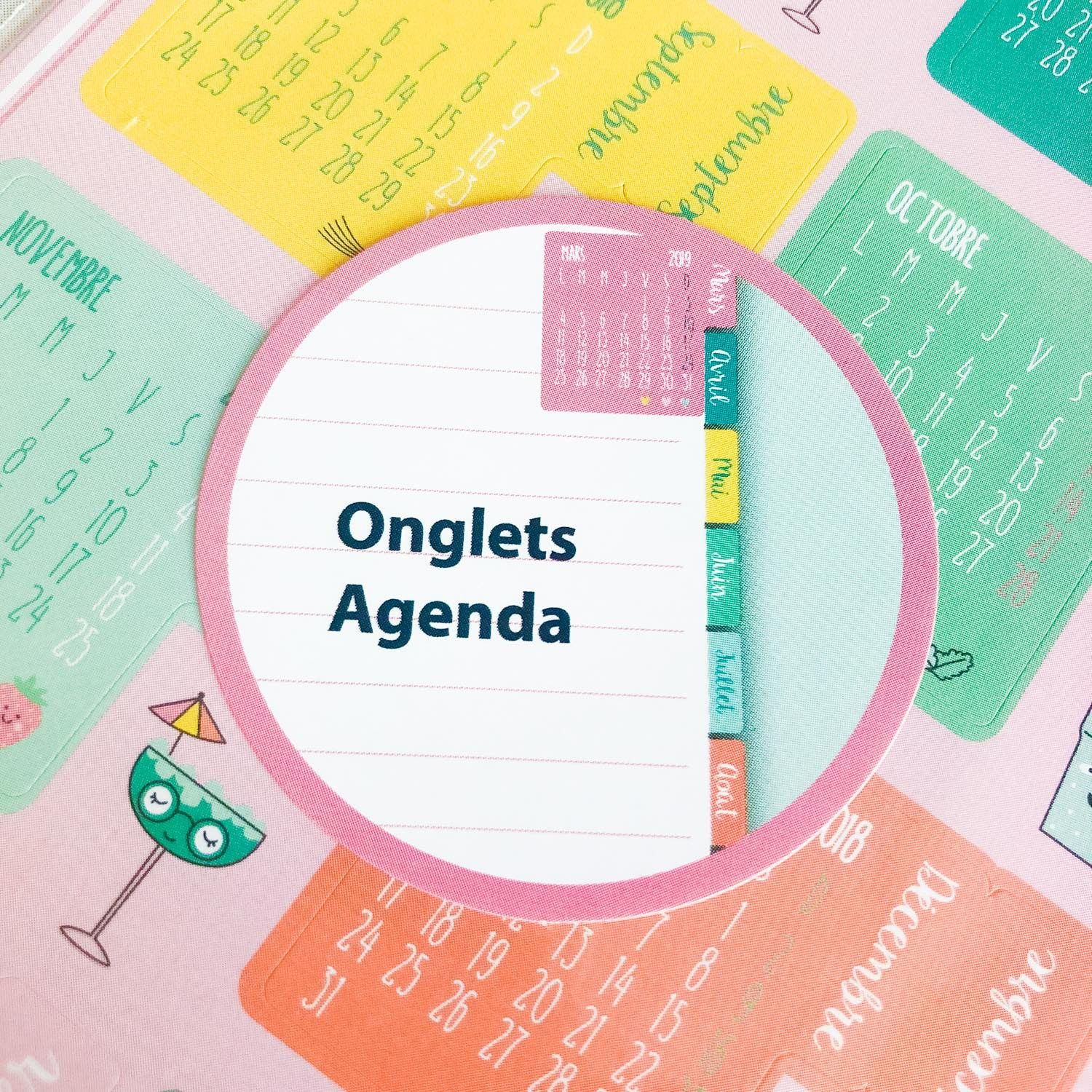 Stickers Onglets / calendriers style Kawaii