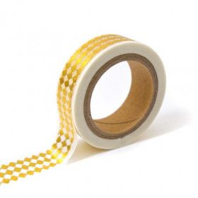 Washi Tape Losanges Or et Blanc (Rouleau de 10m)