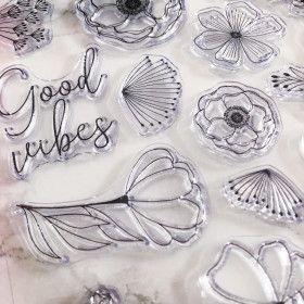 Clear Stamps - Good Vibes, fleurs, citation