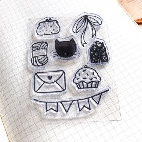 Clear Stamps - Lifestyle: chat, tricot, cupcake ...