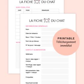 Fiche du Chat - Printable pour planner, Bullet Journal®, taille A5