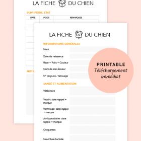 Fiche du Chien - Printable pour planner, Bullet Journal®, taille A5