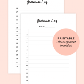 Gratitude Log - Printable pour planner, Bullet Journal®, taille A5