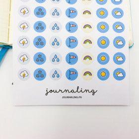 Stickers Météo Couleurs. Planche de 56 stickers pour Planner.