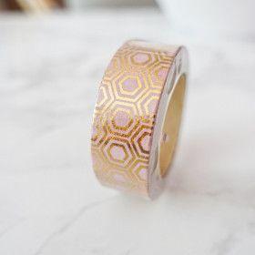 Washi Tape Hexagone Or sur fond rose (Rouleau de 10m)