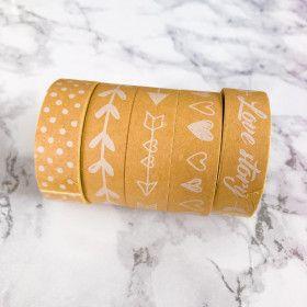 Washi Tape 25 mètres, Kraft et motifs blancs