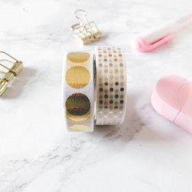 Washi Tape Pois dorés (2 rouleaux)