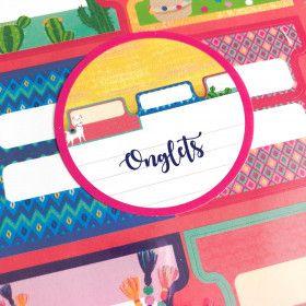 24 Stickers Onglets en couleurs, motif Lama
