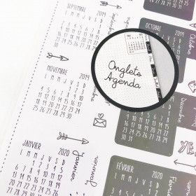 Stickers Onglets / calendriers noir et blanc