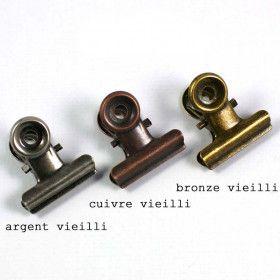 Pince Clip Vintage 2cm, bronze ou argent