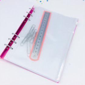 Pochette plastique avec zip pour planner 6 trous