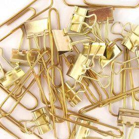 Set de 15 trombones + 15 pinces clips, métal doré