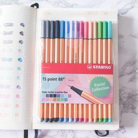 Pochette de 15 stylos feutres Pastel STABILO point 88