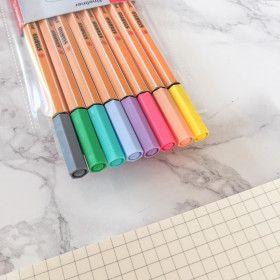 Pochette de 8 stylos feutres STABILO point 88 - coloris pastel