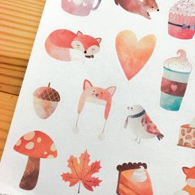 Illustrations automne, planche de 20 stickers watercolour