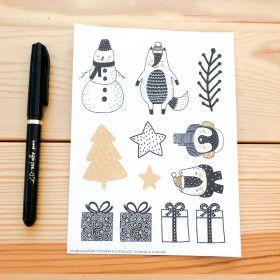 Illustrations hiver, planche de 12 stickers watercolour