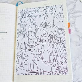 Sticker pleine page - coloriage relaxant Chats