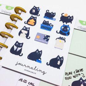 Stickers pour planner: chat noir pour cat lovers!